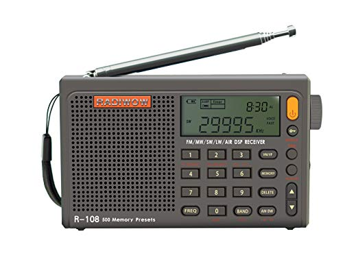 RADIWOW® R-108 Radio Digital Portable Radio FM Stereo/LW/SW/MW/Air/DSP Receiver with LCD Sound for Indoor&Outdoor Activities for Parents
