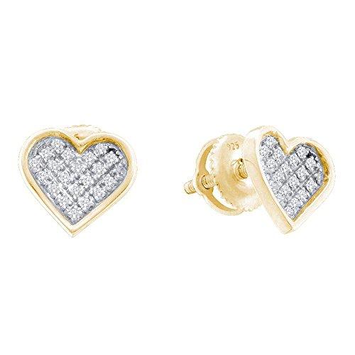 Pendientes de plata de ley para mujer, redondos, diamantes, tono amarillo, corazón, amor,...
