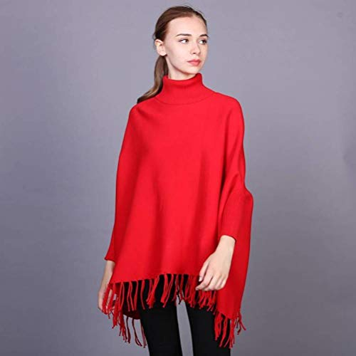 Jutime trui en trui voor dames, herfst en winter, eenkleurig, dikke kleppen, vleermuismouwen, neon punten, grote maat, pompon pullover Talla única Azul Y Amarillo