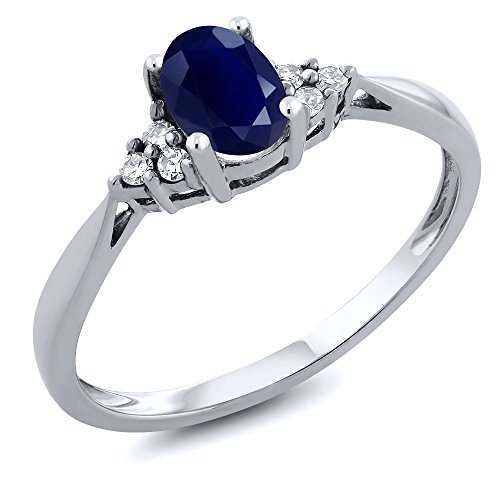 Gem Stone King 14K White Gold Blue Sapphire and Diamond Women's Engagement Ring (0.61 Cttw) (Size 5)