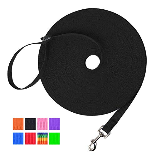 Hi Kiss Dog/Puppy Obedience Recall Training Agility Lead - 15ft 20ft 30ft 50ft 100ft Training Leash - Great for Training, Play, Camping, or Backyard - Black 20ft