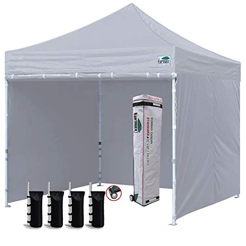 Eurmax 10'x10' Ez Pop-up Canopy Tent Commercial Instant Canopies with 4 Removable Zipper End Side Walls and Roller Bag, Bonus 4 SandBags (Gray)