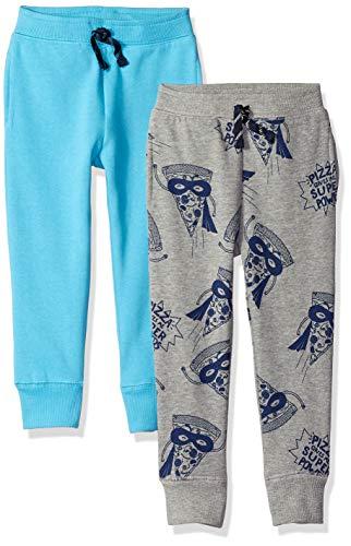 Amazon Brand - Spotted Zebra Kids Boys Fleece Jogger Sweatpants, 2-Pack Pizza/Blue, Large
