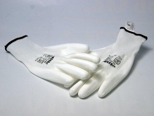 Nylon Maille Fine de nylon Gants blancs Revêtement PU Cat II Taille 8