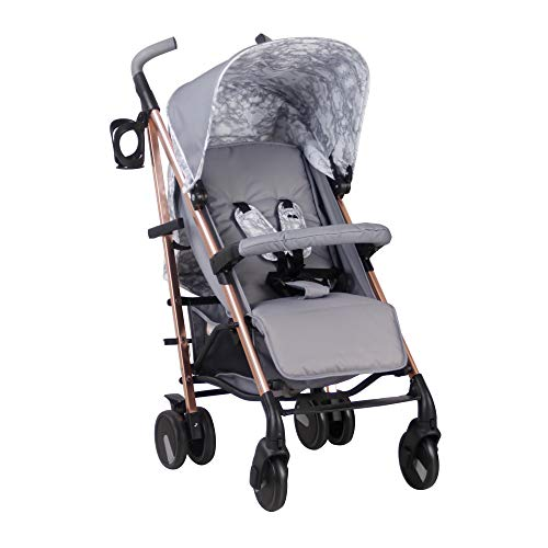 My Babiie Dreamiie by Samantha Faiers MB51 Grey Marble Stroller, High Quality, Lightweight Frame, Comfort, Manoeuvrability, Suitable from Birth to Maximum 22kg, with Cup Holder, Rain Cover & Cosytoe