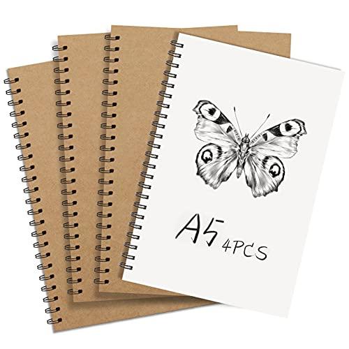 Pack de 4 Cuaderno de bocetos A5, Tapa Blanda Cubierta de Kraft Papel Bosquejo Cuaderno Espiral Papel en Blocs de Notas Adecuado para niños o adultos a los que les gusta dibujar.