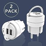 UCOMEN Prise Allemand USB, Chargeur USB Adaptateur de 2,4 Alimentation 2 Ports avec Barre Coulissante et Chargeur Intelligente (2-Pack)