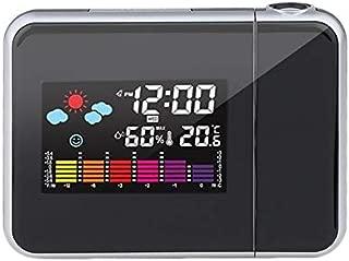 Bonni デジタル投影スヌーズ目覚まし時計カラフルなLEDディスプレイバックライトサイレントサイレントカチカチ時計なし気象ステーションハウスクロック