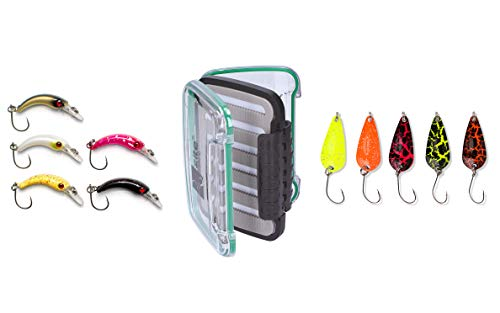 Zite Fishing Forellen-Köder-Set - Hochwertige Trout Spoon-Box + 5 fängige Mini-Wobbler + 5 Forellen-Blinker