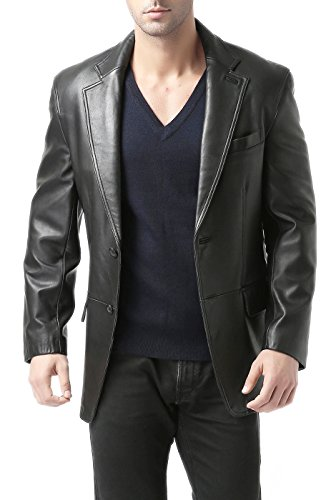 BGSD Men's Grant 2-Button Leather Blazer Lambskin Sport Coat Jacket Black Medium