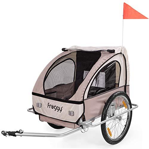 FROGGY Kinder Fahrradanhänger mit Federung + 5-Punkt Sicherheitsgurt Radschutz Anhänger für 1 bis 2 Kinder Design Safari