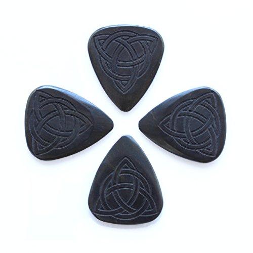 Laser Tones LASTTR4 - Plettri in legno di ebano africano, motivo: Triquetra celtica, 4 pezzi