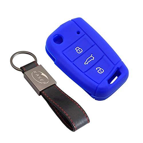 kaser Funda Silicona para Llave VW MK7 – Carcasa Llaveros 3 Botones para Coche Volkswagen Golf 7 Polo Tiguan 2017 Seat Skoda Cover Case Protección Remoto Mando Auto (Azul)
