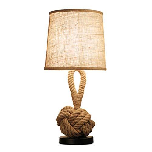 SHUTING2020 lámpara de Mesa Nordic Dormitorio lámpara de cabecera de la lámpara Retro del Hotel Sala de cáñamo Cuerda lámpara de Mesa lámpara de Lectura Estudio de Ojos Lámpara Noche
