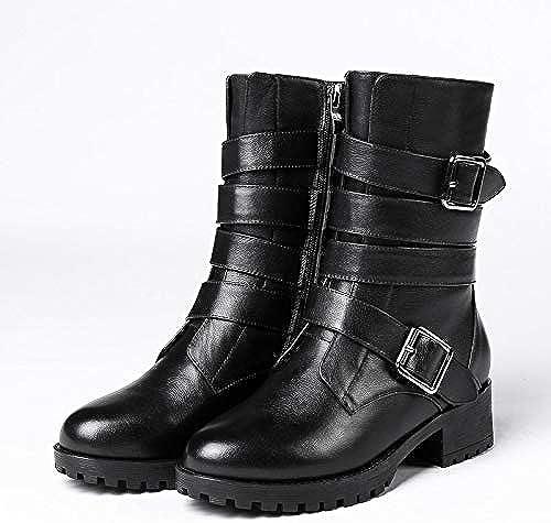HOESCZS Marque Design en Cuir Véritable Noir Meilleure Qualité Bottes Femmes Chaussures Dropship Boucles Ceinture Martin Bottes Chaussures Femme