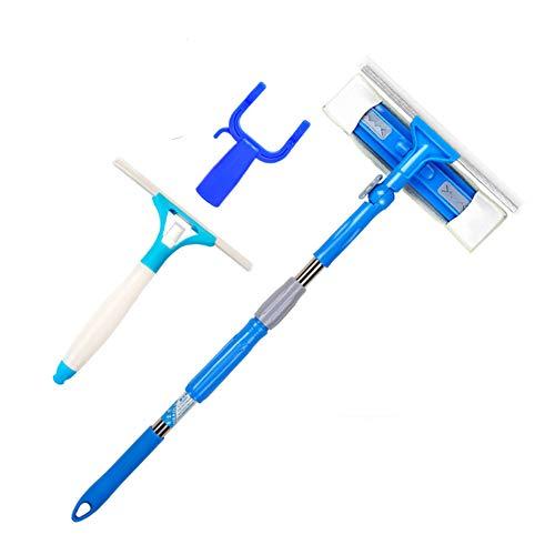 Limpiacristales 3 en 1 limpiador limpiador limpiador con pulverizador de microfibra desmontable kit de limpieza para vidrio comercial del hogar, limpiador telescópico de barra, doble cara