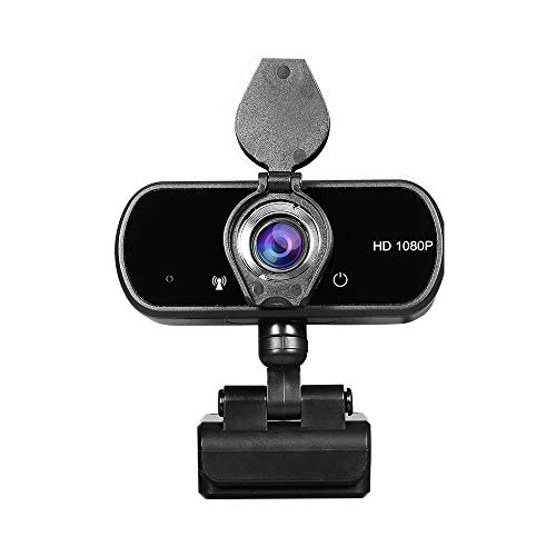 Janhiny HD 1080P USB Webcam with Privacy Cover Manual Focus Video Conference Camera Built-in Microphone for Laptop Desktop Black