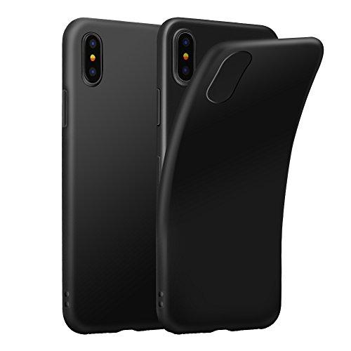 Eouine Funda para iPhone XS, Fundas para iPhone X, Ultrafina Carcasa de Silicona Suave Gel TPU [Antigolpes] Case Cover Bumper Fundas para Movil para iPhone XS/X 2018-5.8 Pulgadas (Negro)