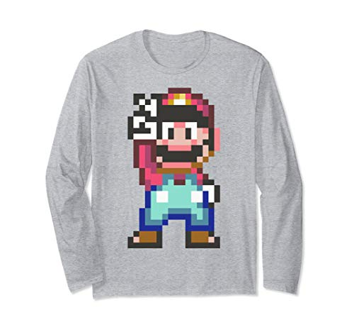 Super Mario Pixel Peace Sign Long Sleeve T-Shirt