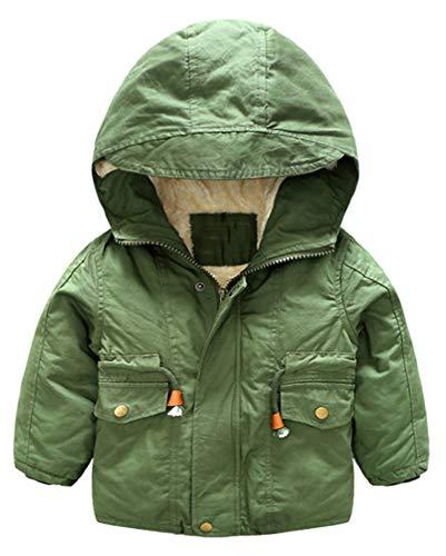 CYSTYLE Baby Jungen Winter Jacke Dufflejacke warme Fleece Kapuzenmantel Horn-Knopf Parka Outwear Jacket (Army Grün, 110/Körpergröße 100-105 cm)
