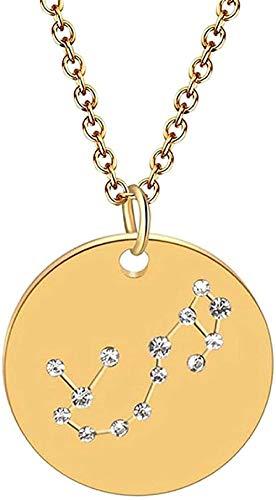 WYDSFWL Collar Horóscopo Astrología Zodiaco Collar para Mujer Joyas góticas Dorado Collar con Pintura de 12 Estrellas Gargantilla con dijes Redondos Regalo para Mujeres Hombres Regalo Collar Regalo