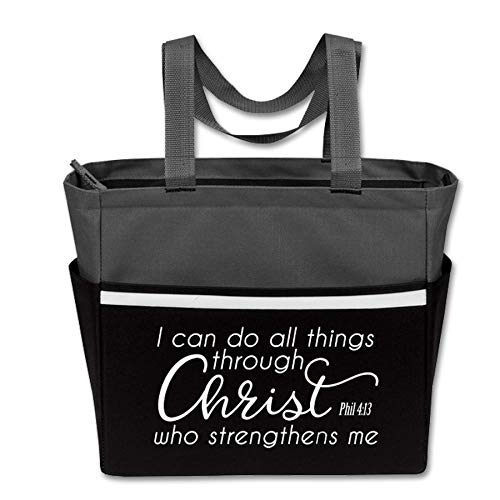 I Can Do All Things Through Christ - Cute, Religious Zippered Tote Bag for Women - Perfect Gift - Great for Church, Work, Travel, School