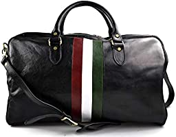 Borsone viaggio in pelle da uomo e donna borsa viaggio borsa sport bandiera Italiana borsa viaggio vera pelle nero
