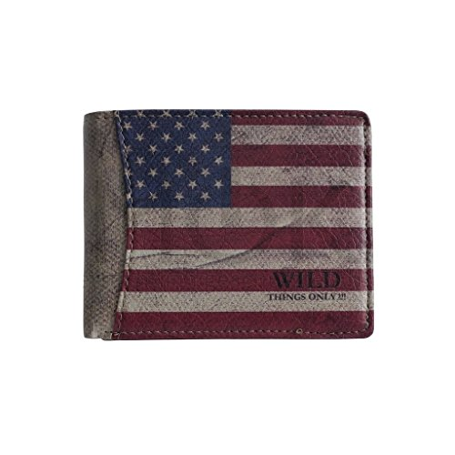 Wild Things Only !!! - Börse mit USA Flagge Unisex Geldbeutel Geldbörse Portemonnaie in versch. Formaten - präsentiert von ZMOKA® (Querformat)