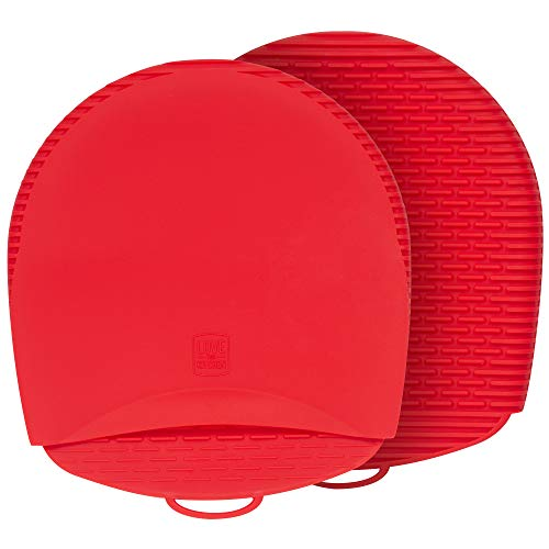 Premium Silicone Oven Mitts and Pot Holders. This 100% Silicone Potholder is Flexible & Durable. These Pot Holders for Kitchen are Healthier, No Nasty Things Will Grow Inside or Out (Red, 1 Pair)