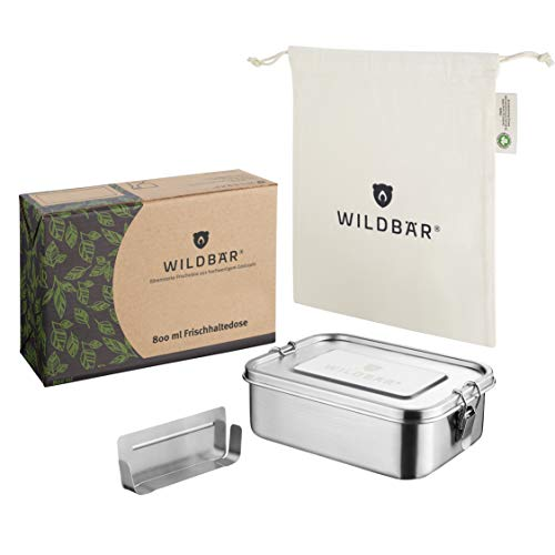 WILDBÄR® | NEU | Dichte Premium Edelstahl Brotdose als innovatives Set. BPA- und plastikfreie Lunchbox mit Flexibler Abtrennung und Naturbaumwollbeutel. Nachhaltig, ideal auch für Kinder - 800ml