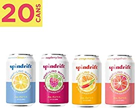 Spindrift Sparkling Water, 4 Flavor Variety Pack, Made with Real Squeezed Fruit, 12 Fluid Ounce Cans, Pack of 20 Seltzer Water Cans