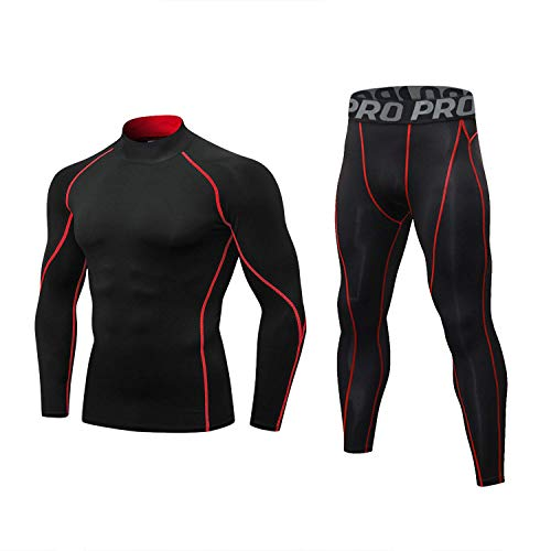 Thermal Underwear for Men Winter Gear Base Layer Set Sport Fitness Long Johns Mock Neck Top and Bottom