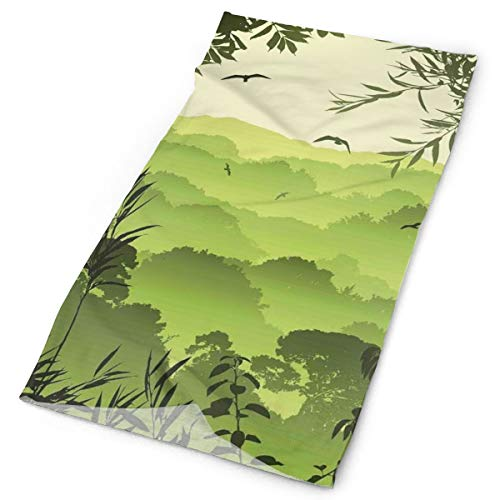 Magic Headwear Outdoor Scarf Headbands Bandana,Forest Scenery With Tea Trees And Gulls In The Jungle Birds Branches Eco Graphic Work,Mask Neck Gaiter Head Wrap Mask Sweatband