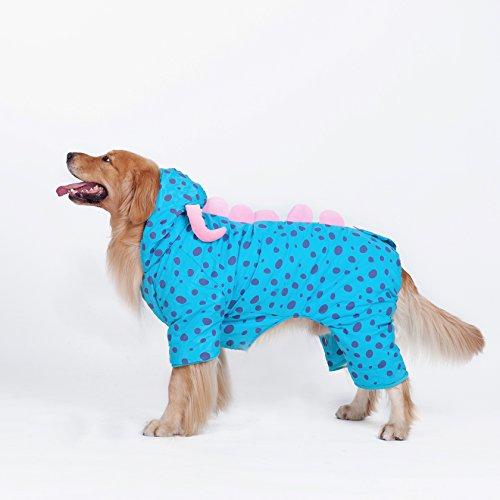 Pet Costume Déguisement Dinosaure en peluche avec capuche Combinaison pour gros chiens vêtements Manteau d'hiver chaud