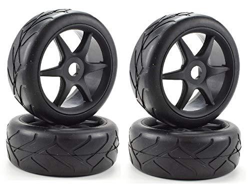 Apex RC Products 1/8 On-Road Black 6 Spoke Wheels/Super Grip Tires - Set of 4#6023