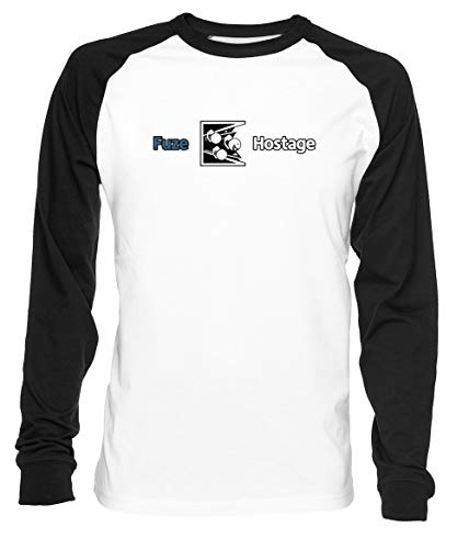 Erido Dont Fuze The Hostage! Uomo Donna Unisex Maglietta da Baseball Bianca Nera Women's Men's T-Shirt