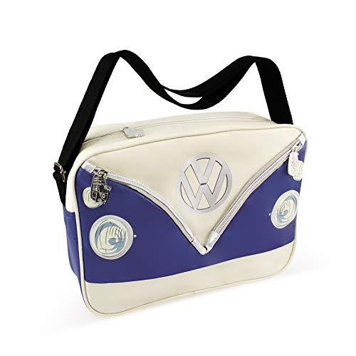 BRISA VW Collection - Stylishe & coole Volkswagen Retro/Vintage Schulter-Umhänge-Reise-Tasche mit VW T1 Bulli Bus Motiv in (Cremeweiß/Blau/Kunstleder)