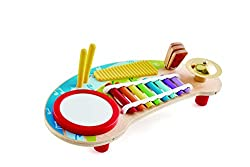 Game board with multiple instruments including drum, xylophone, cymbals, scratch board, clapper and two beaters The instruments can be played individually or together to create unique compositions. Safe for young ears thanks to limited sound emission...