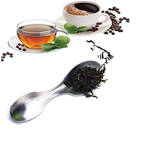 Xunda Stainless Steel Tea Leaves Scoop,2 in 1 Coffee Tea Spoon with 2 Measuring Scoops