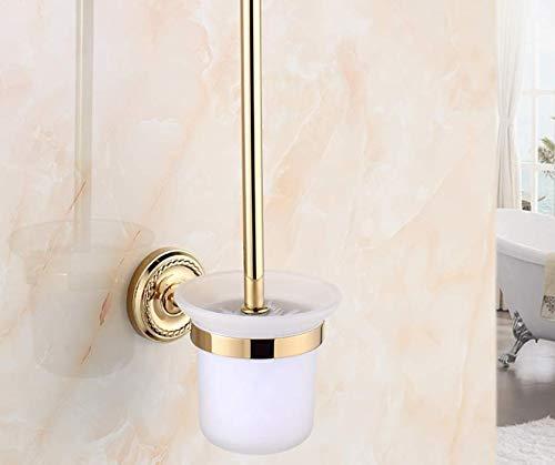 QiXian Duschkabine Goldene Toilette Getränkehalter Toilettenbürste Toilettenreinigungsmittel Toilettenbürste Langer Griff Toilettenbürstengarnitur Stark Robust