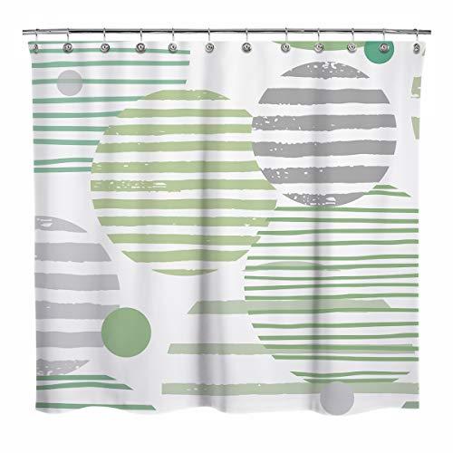 Sunlit Design Duschvorhang, abstrakte Planeten, Farbverlauf, Cyan & Grün gestreifte Kreise Badezimmer Dekor