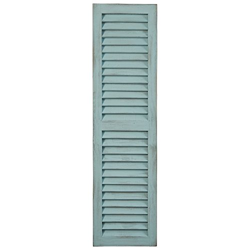 Amazon Brand – Stone & Beam Modern Rustic Wood Farmhouse Window Shutter Wall Art Home Decor - 13 x 48 Inches, Tiffany Blue