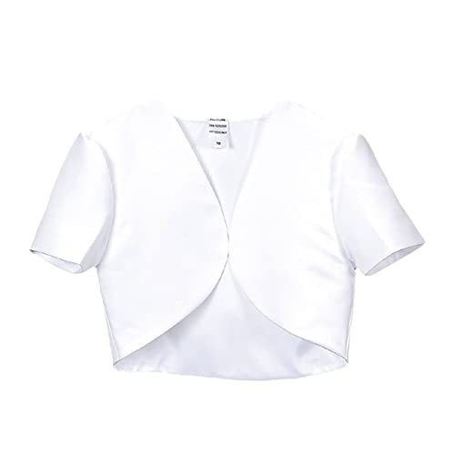 Girls White Short Sleeve Satin Bolero Special Occasion Communion Church Jacket