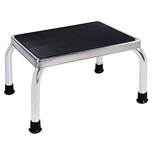 Vaunn Medical Foot Step Stool with AntiSkid Rubber Platform Chrome Plated Stool