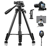 KINGJUE 60' Camera Tripod for Canon Nikon Lightweight Aluminum Travel DSLR Phone Camera Tripod with 2 in 1 Phone Tablet Holder/Remote Shutter/Carry Bag