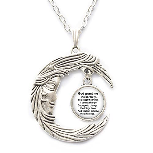 Collar de oración de serenidad, joyas de oración de serenidad, joyas religiosas blancas y negras, collar inspirador, PU032