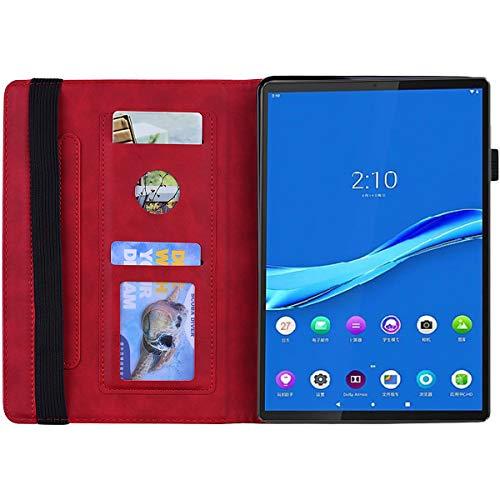 AsWant Lenovo Tab M10 Plus Hülle Mandala Blume Geprägt PU Leder Flip Brieftasche Ständer Taschehülle Kartenschlitz Stifthalter Schutzhülle für Lenovo Tab M10 Plus 10.3 Zoll TB-X606F / TB-X606X - Rot