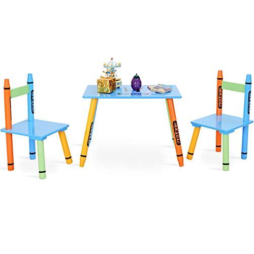 DREAMADE Set di 3 Pezzi di Mobili Tavolino con 2 Sedie per Bambini in MDF, Multicolore