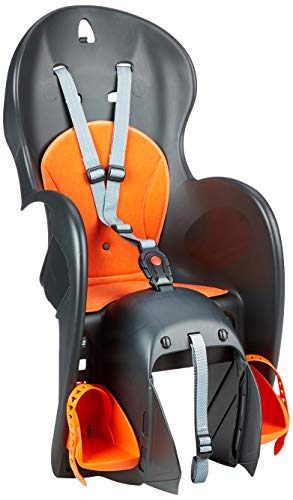POLISPORT Kinder Wallaroo Fahrradsitz, Schwarz/Silber/Orange, One Size