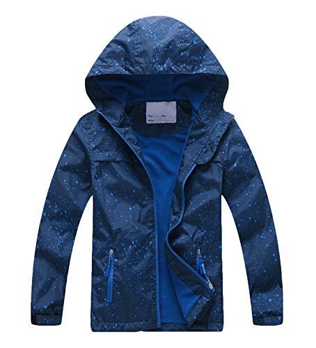 YoungSoul Chaqueta Impermeable para Niños - Cortavientos con Forro Polar y Capucha- Abrigo Deportivo Primavera Otoño, Azul Oscuro, 5-6 años/120